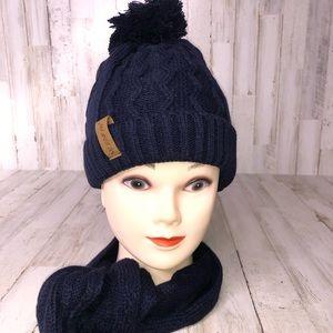 Women's Navy Blue Knit Navy Pom Beanie & Scarf Set